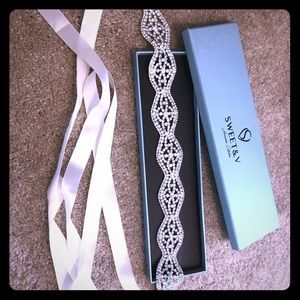 Bridal Sash - ivory and crystal accents